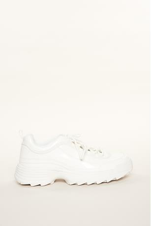 Faux-Leather Sneakers WHITE