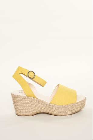 Ankle Buckle Espadrille Wedges YELLOW