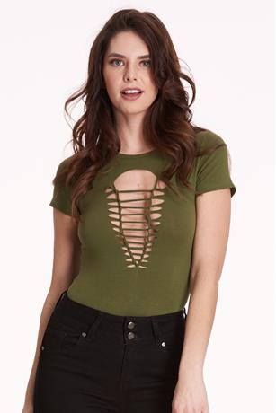 Ladder-Cutout Bodysuit GREEN