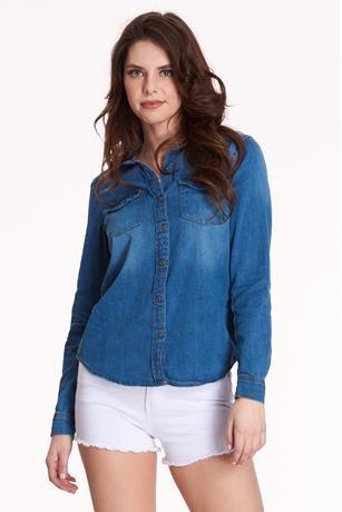 Denim Button-Front Shirt DARK WASH