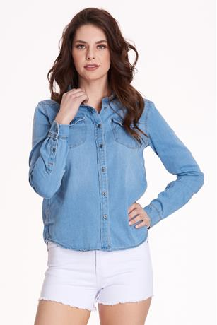 Denim Button-Front Shirt LIGHT WASH
