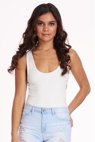 Brushed Cut Out Bodysuit WHITE