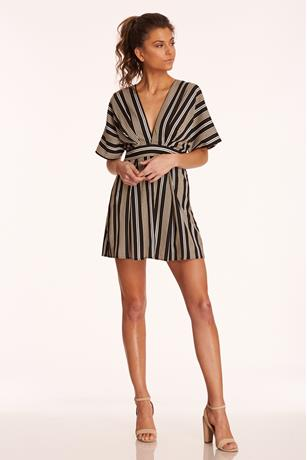 Stripe Open Back Dress BLACK