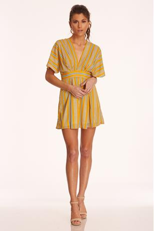 Stripe Open Back Dress MUSTARD
