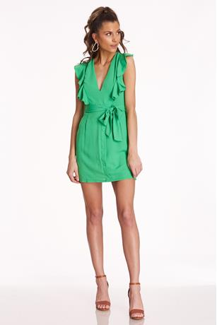 Ruffle V-Neck Dress GREEN