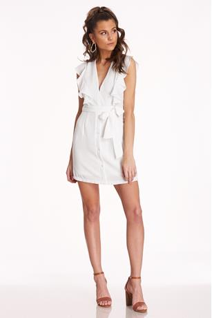 Ruffle V-Neck Dress WHITE