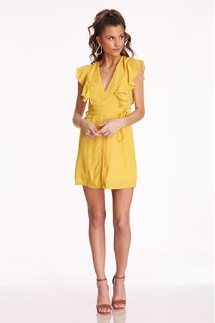 Ruffle V-Neck Dress YELLOW