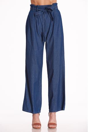 Chambray Paperbag Pants DARK WASH