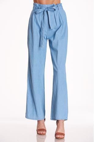 Chambray Paperbag Pants LIGHT WASH