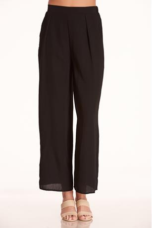 Solid Wide-Leg Pants BLACK