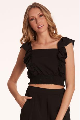Ruffle Trim Crop Top BLACK