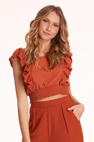 Ruffle Trim Crop Top RUST