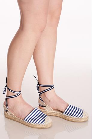 Stripe Lace-Up Espadrille Sandals NAVY
