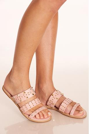 Triple Strap Studded Sandals BLUSH