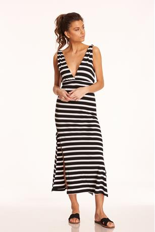 Striped V-Neck Dress BLACK