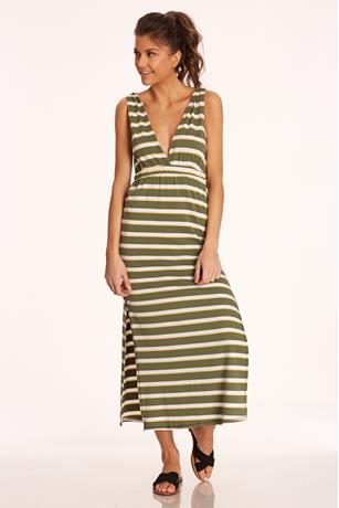 Striped V-Neck Dress OLIVE