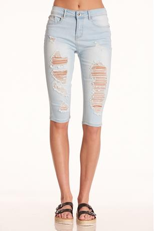 Elite Distressed Bermuda LIGHT WASH