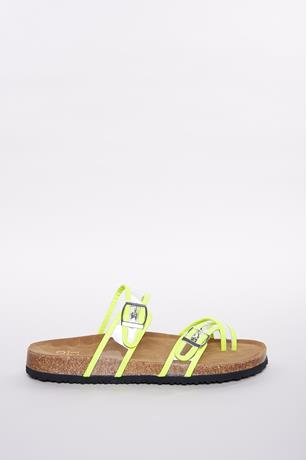 Clear Buckle Strap Sandals LIME GREEN