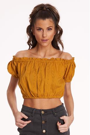 Eyelet Off Shoulder Crop Top MUSTARD