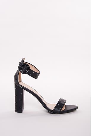 Studded Ankle-Strap Heels BLACK