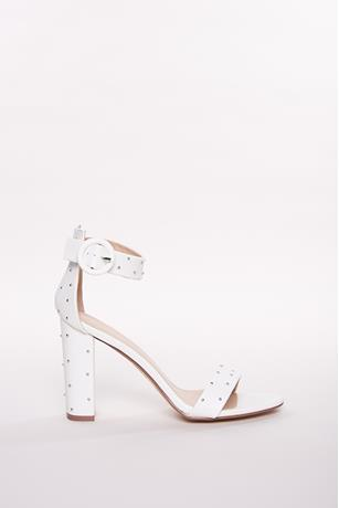 Studded Ankle-Strap Heels WHITE