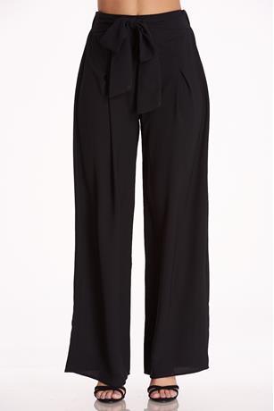 Flare Self-Tie Pants BLACK