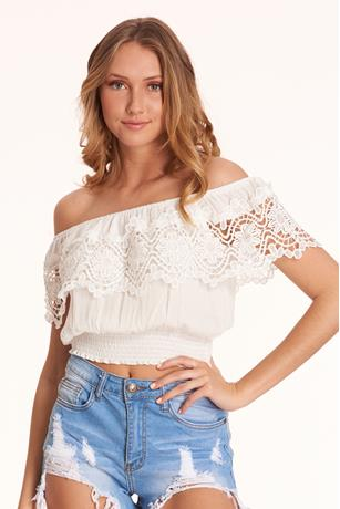 Crochet Flounce Top WHITE