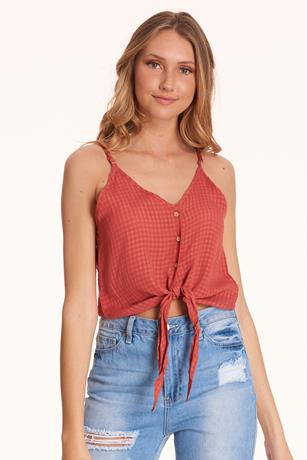 Tie-Front Cami RED