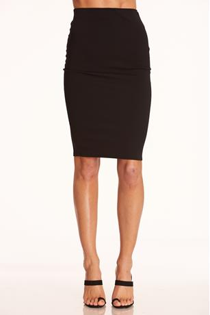 High-Waist Midi Skirt BLACK