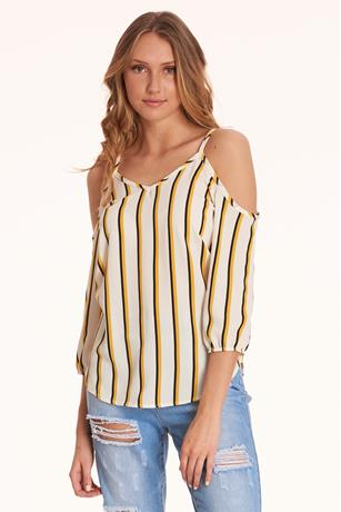 Striped Open-Shoulder Top WHITE