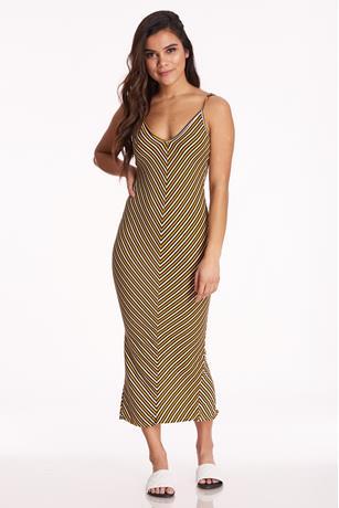 Striped Maxi Dress MUSTARD