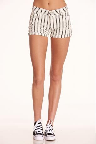 White Stripe Cuffed Shorts