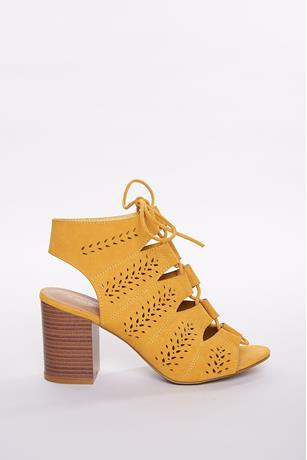Perforated Cage Booties MUSTARD