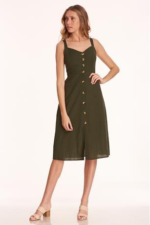 Back Cut-Out Midi Dress OLIVE