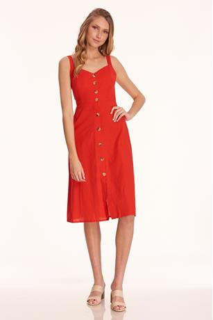 Back Cut-Out Midi Dress RED