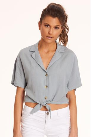 Linen Self-Tie Crop Top DENIM