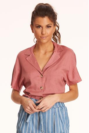 Linen Self-Tie Crop Top ROSE