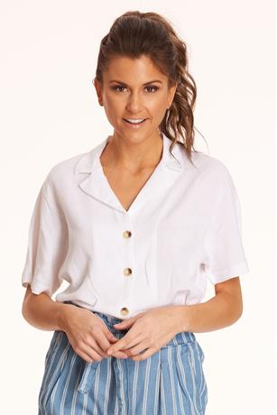 Linen Self-Tie Crop Top WHITE