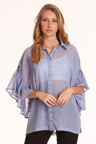 Ruffle Button-Front Shirt DENIM