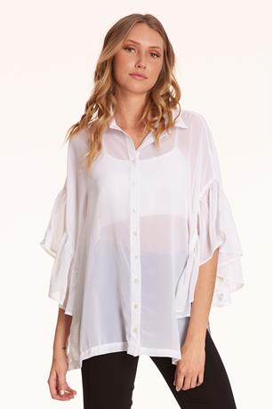 Ruffle Button-Front Shirt WHITE