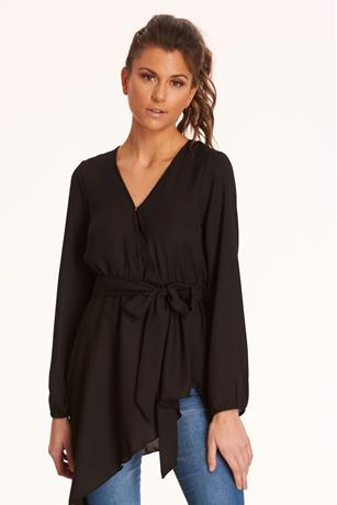 Uneven Tie-Front Blouse BLACK