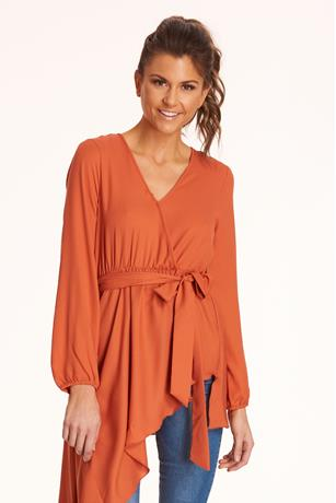 Uneven Tie-Front Blouse ORANGE