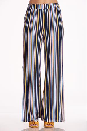 Striped Slit Palazzo Pants BLUE