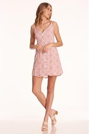 Print Button-Front Dress ROSE