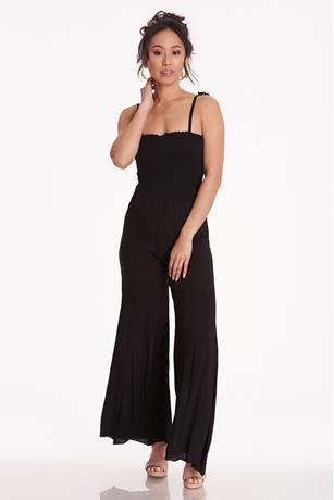 Gauze Smocked Top Jumpsuit BLACK