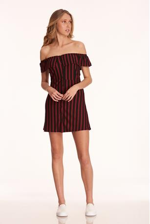Stripe Button-Up Skater Dress BLACK