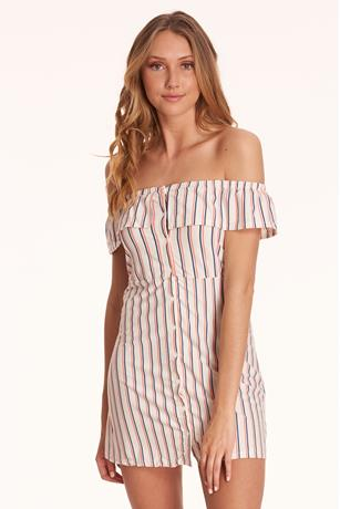 Stripe Button-Up Skater Dress WHITE