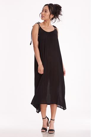 Gauze Tassel Dress BLACK