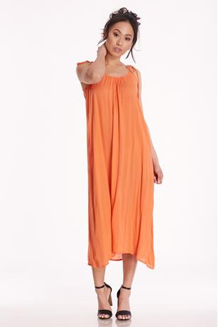 Gauze Tassel Dress CORAL