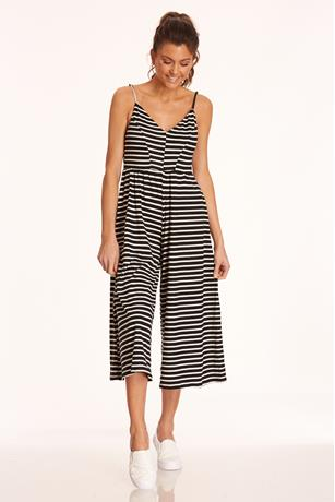 Striped Culotte Jumpsuit BLACK